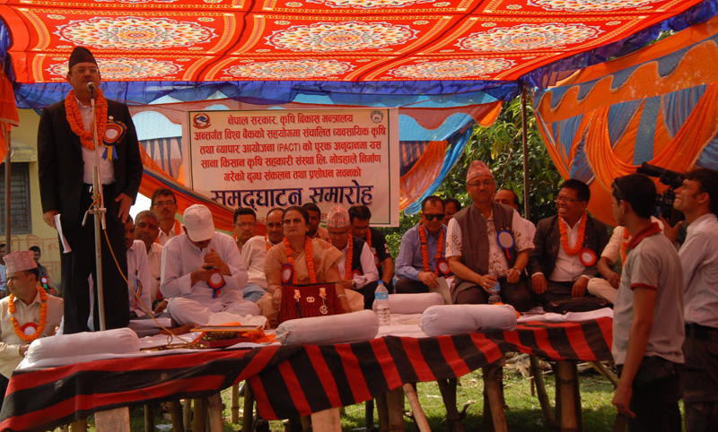 Minister for Industry Som Prasad Pandey addresses a function in Bhodaha of Bara district, on Wednesday, May 18, 2016. Photo: PACT