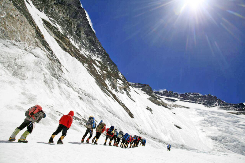 Climbers acclimatising in higher camps on Mt Everest, on Monday, May 9, 2016.