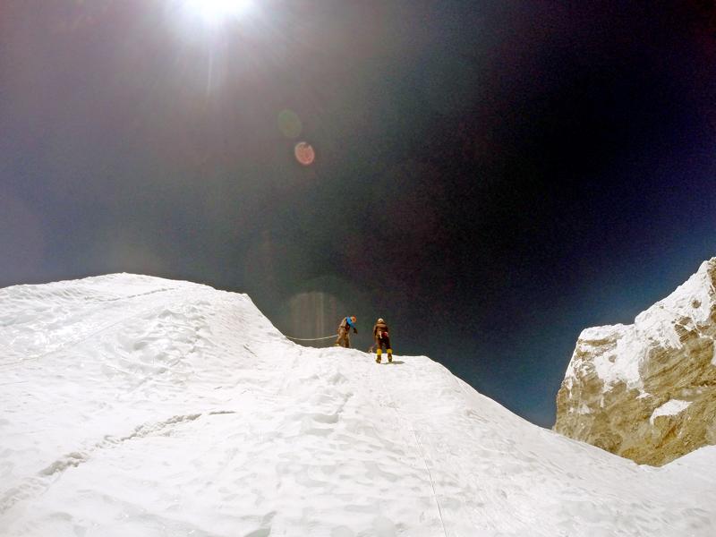 A file photo of trained Sherpas fixing ropes near the summit of Mt Everest. Courtesy: Nima Gyalzen Sherpa/Sherpa Khangri