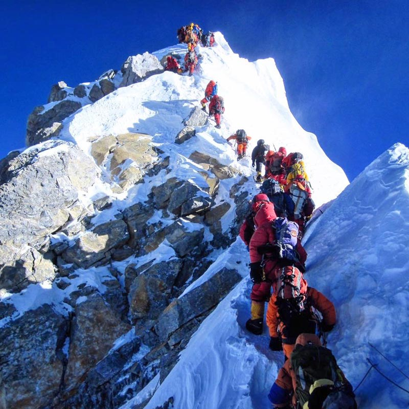 File - In this undate image, climbers are seen heading to the top of Mt Everest. Photo Courtesy: Lydia Bradey