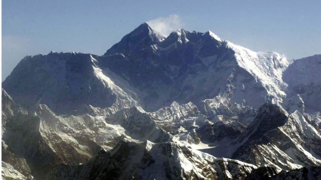 Mt Everest, known as Mt Qomolangma in Tibet, as seen from the Tibet side. Photo: AP