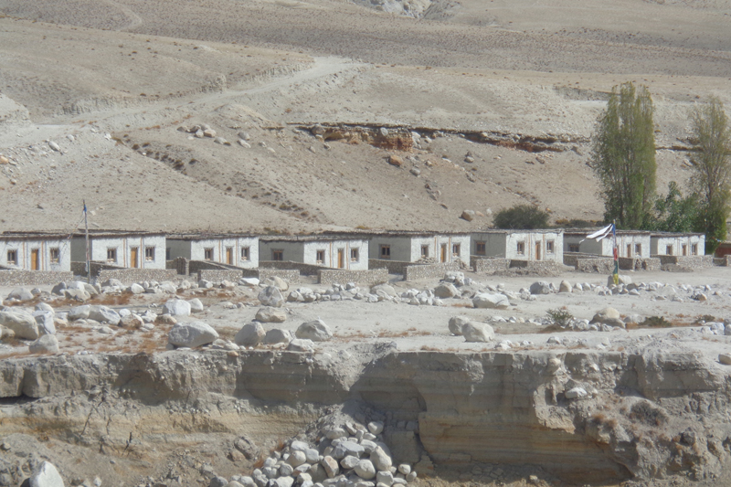 A newly built human settlement in Namasung village of Mustang district in May 2016. Hit by a drought, villagers of adjacent Samjung have shifted here. Photo: RSS