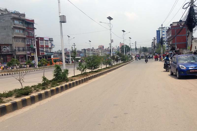A street wears a deserted look during the Federal Alliance protest to press the government to address their demands, in Naya Baneshwor, on Monday, May 16, 2016. Photo: Monica Lohani/ THT