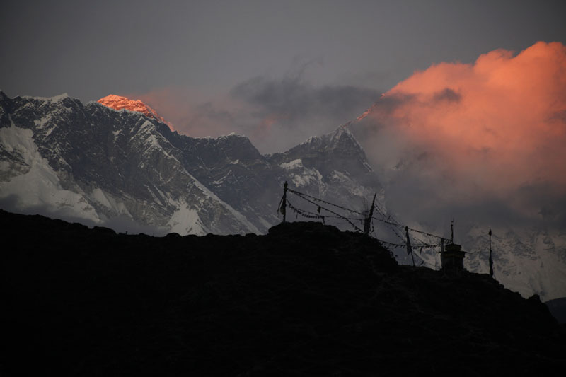 FILE -  The last light of the sun sets on Mount Everest, as seen from Pangboche, Nepal, on Saturday, November 7, 2015. Photo: Tashi Sherpa/AP