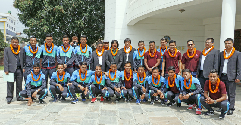 Nepal's national football team posing for a group photo prior to their departure to Laos for an  international friendly, at ANFA Complex in Lalitpur on Friday, May 27, 2016. Photo: Udpit Singh Chhetry