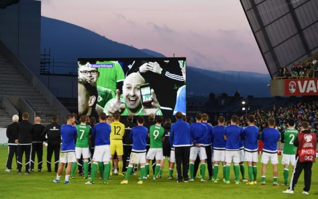 Football Soccer - Northern Ireland v Belarus - International Friendly - Windsor Park, Belfast, Northern Ireland - 27/5/16nGeneral view as Northern Ireland players and staff watched a video on the big screen as a preview to Euro 2016nReuters / Clodagh Kilcoyne