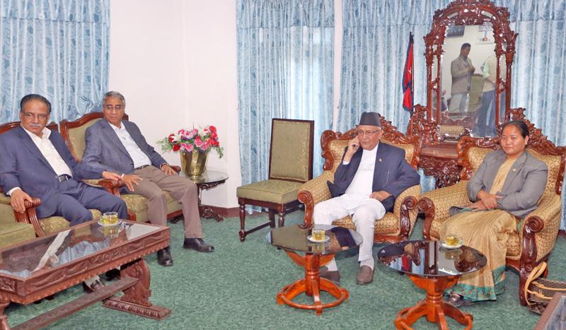 FILE: Speaker Onsari Gharti Magar holds meeting with CPN-UML Chaorman KP Sharma Oli, Nepali Congress Presidnet Sher Bahadur Deuba and CPN Maoist Centre Chairperson Puspa Kamal Dahal at her office, Singha Durbar in Kathmandu, on Sunday, May 1, 2016. Photo: RSS