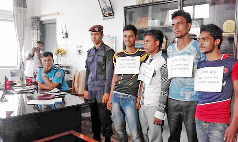 Four alleged kidnappers being made publice at Parsa District Police Office on Friday, May 6, 2016. Photo: Ram Sarraf