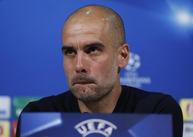 Football Soccer - Bayern Munich v Atletico Madrid - Allianz Arena Munich, Germany - 02/05/16 Bayern Munich's coach Pep Guardiola during news conference prior to UEFA Champions League semi-final return match against Atletico Madrid     REUTERS/Michaela Rehle