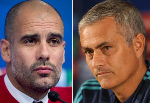 Pep Guardiola (left) and Jose Mourinho. Photos: Reuters