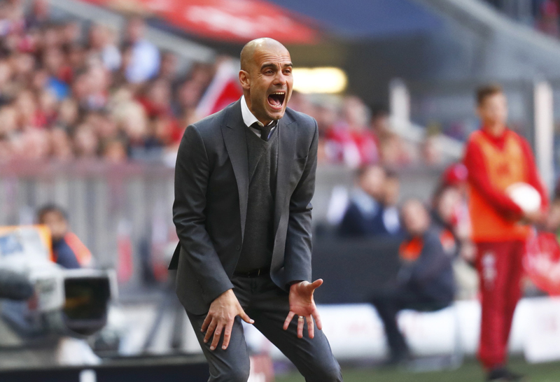 Bayern Munich's coach Pep Guardiola reacts during the match against Borussia Moenchengladbach at Allianz Arena on Saturday, April 30, 2016. Photo: Reuters