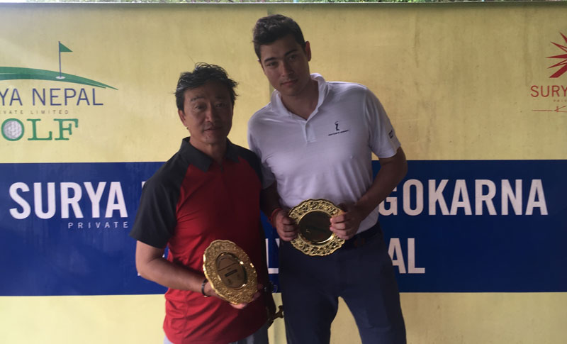 Phintso Ongdi Lama (left) and Vijay Shrestha Einhaus hold their trophies after the Surya Nepal Gokarna Monthly Medal in Kathmandu on Saturday. THT