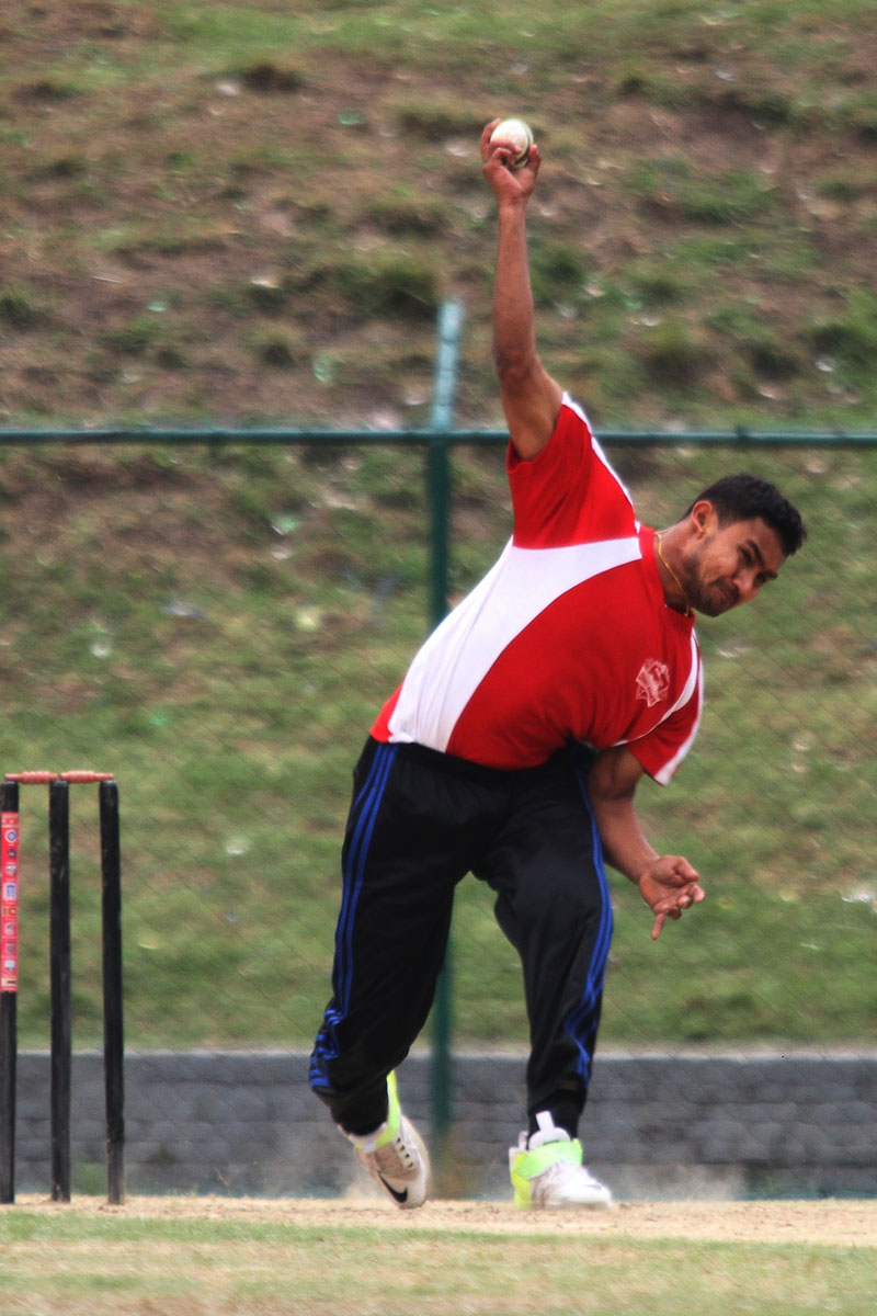 Pradeep Airee of Heartland College bowls against Golden Gate College during their Expert College Premier League match at the TU Stadium in Kathmandu on Thursday. Photo: Udipt Singh Chhetry/THT