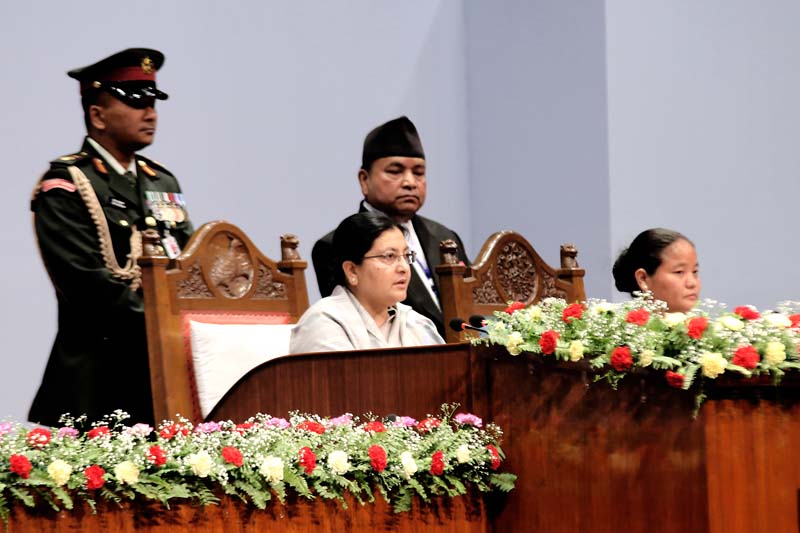 President Bidya Devi Bhandari unveils the policy and programme of government at the Parliament meeting, on Sunday, May 8, 2016. Photo: RSS