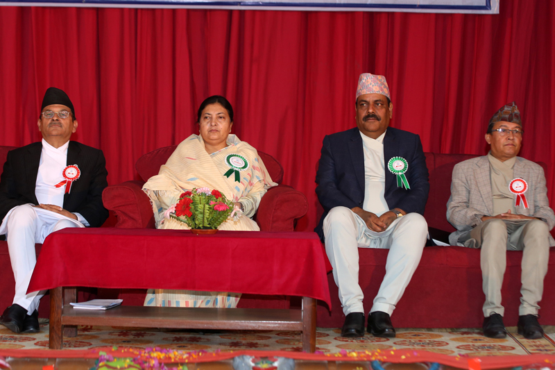 President Bidya Devi Bhandari (2nd from left) attends a function organised to mark the first National Journalism Day, in Kathmandu, on Friday, May 6, 2016. Photo: RSS