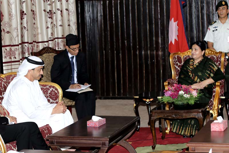 President Bidya Devi Bhandari interacts with UAE Foreign Minister Sheikh Abdullah Bin Zayed Al Nahyan at her official residence, in Sheetal Niwas, on Tuesday, May 10, 2016. Photo: RSS