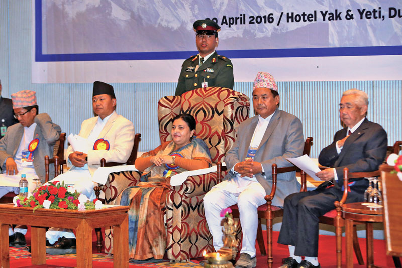 President Bidya Devi Bhandari attending a programme held to mark 60 years of ascent of Mount Manaslu and Mount Lhotse, in Kathmandu, on Saturday, April 30, 2016. Photo: RSS