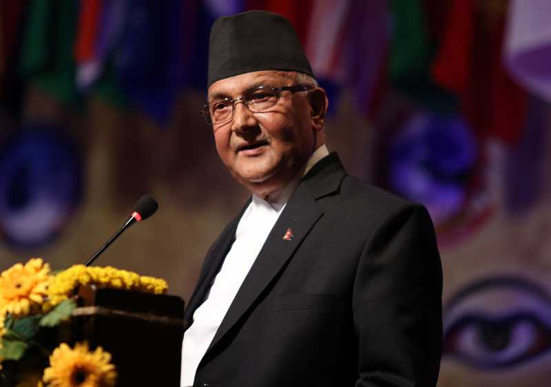 Prime Minister KP Sharma Oli addressing the International Buddhist Conference organised on the occasion of the 2560th Buddha Jyanti in the Capital on Thursday, May 19, 2016. Photo: RSS nn