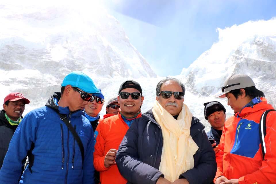 UCPN-Maoist Chairman Pushpa Kamal Dahal poses for a photograph at the Everest Base Camp, in Solukhumbhu, on Sunday, May 8, 2016. Photo Courtesy: Prakash Dahal