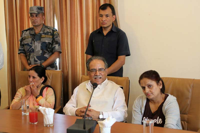 CPN Maoist Centre Chairman Pushpa Kamal Dahal attends an interaction programme in Bharatpur of Chitwan, on Thursday, May 26, 2016. Photo: Tilak Ram Rimal/ THT