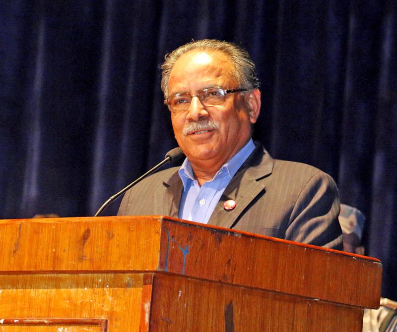 UCPN-M Chairman Puspa Kamal Dahal speaking at a function in Kathmandu on Thursday, May 5, 2016. Photo: RSS