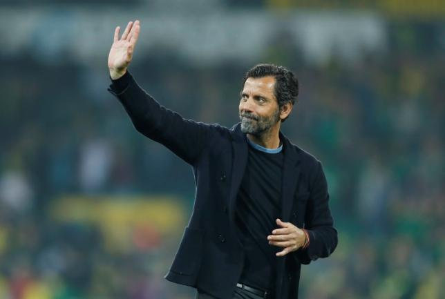 Britain Football Soccer - Norwich City v Watford - Barclays Premier League - Carrow Road - 11/5/16nWatford manager Quique Sanchez Flores waves to fans at the end of the matchnAction Images via Reuters / John Sibley/ Livepic