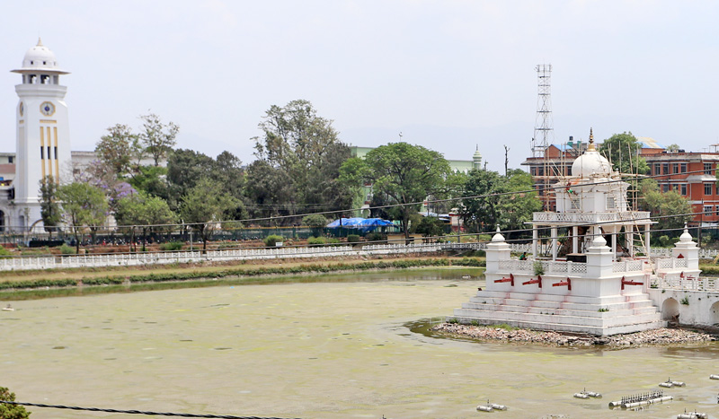 FILE: The Balgopaleshwor Temple at the mid of Ranipokhari, which was damaged by last year's devestating earthquake, being reconstructed, in Kathmandu, on Sunday, May 8, 2016. Photo: RSS