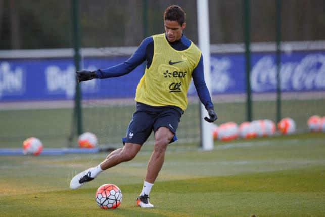 France's national soccer team player Raphael Varane attends a training session at the team training centre of Clairefontaine, near Paris, France, in this March 22, 2016 file photo.  REUTERS/Gonzalo Fuentes