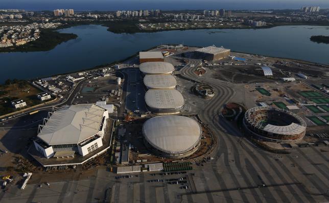 An aerial view shows the 2016 Rio Olympic park in Rio de Janeiro, Brazil, April 25, 2016. REUTERS/Ricardo Moraes