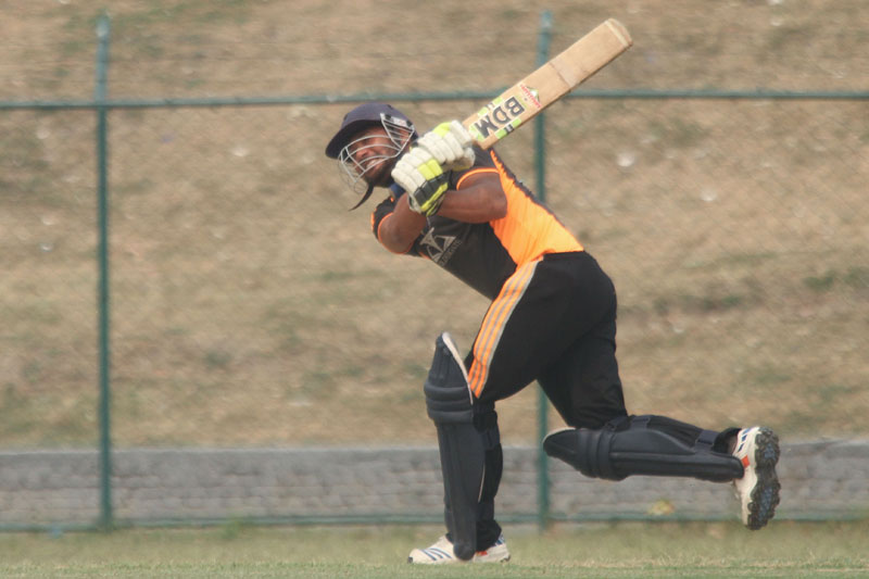 Ritesh Yadav of Golden Gate College plays a shot against LBEF during their Expert College Premier League match at the TU Stadium in Kathmandu on Monday, May 2, 2016. Photo: THT