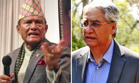 Rookmangud Katawal (left) and Nepali Congress President Sher Bahadur Deuba. Photos: THT