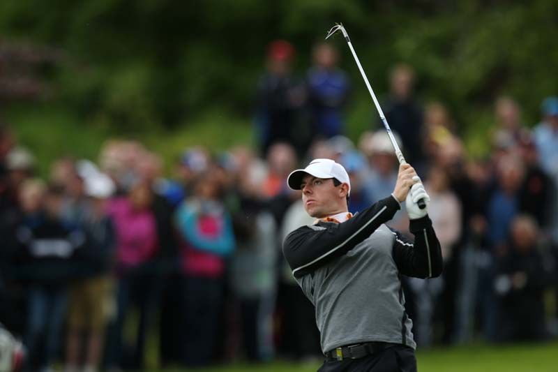 Northern Ireland's Rory McIlroy plays his second shot at the 13th hole during the final round of the Dubai Duty Free Irish Open at the K Club, County Kildare, Ireland on May 22, 2016. Photo: Action Images via Reuters