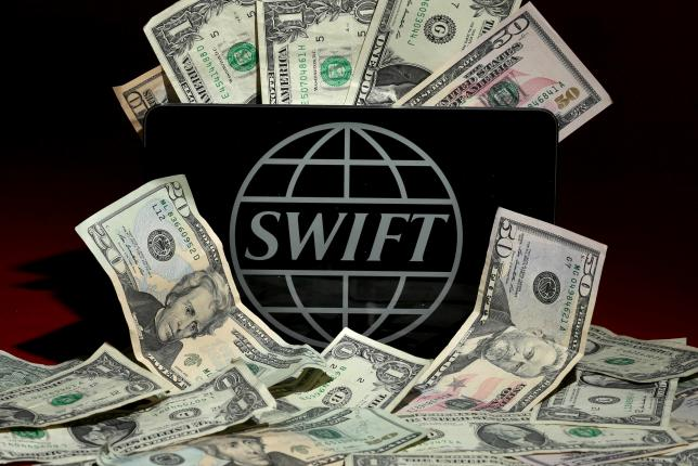 The SWIFT logo is pictured in this photo illustration taken April 26, 2016. Photo: Reuters