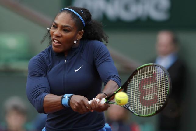 Tennis - French Open - Roland Garros - Serena Williams of the U.S. vs Magdalena Rybarikova of Slovakia - Paris, France - 24/05/16. Serena Williams returns the ball. REUTERS/Benoit Tessier