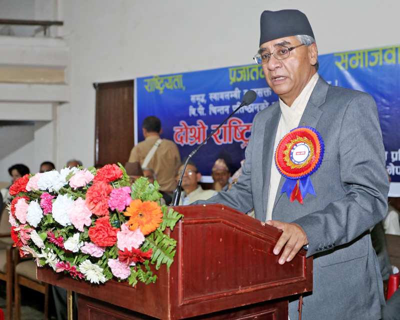 Nepali Congress President Sher Bahadur Deuba speaking at a programme in Kathmandu on Thursday, May 5, 2016. Photo: RSS