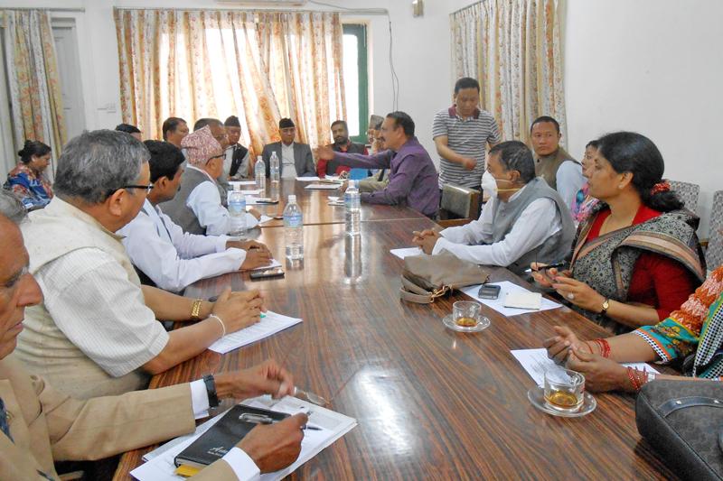 Sher Bahadur Deuba chairs the Nepali Congress Parliamentary Party's meeting in Kathmandu, on Sunday, May 1, 2016. Photo: RSS