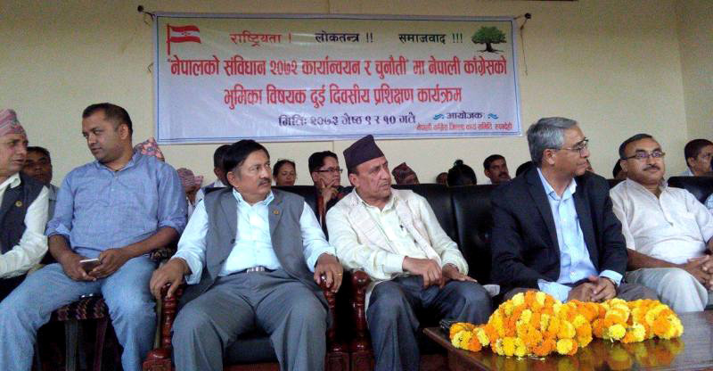 Nepali Congress President Sher Bahadur Deuba (2nd from right) at a function in Bhairahawa of Rupandehi on Sunday, May 22, 2016. Photo: Shreeram Sigdel