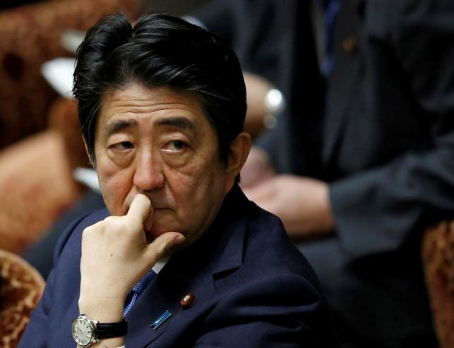 Japan's Prime Minister Shinzo Abe attends a lower house budget committee session at the parliament in Tokyo, Japan, May 16, 2016. REUTERS/Toru Hanai