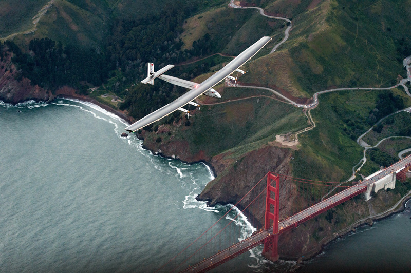 FILE - Solar Impulse 2 flies over the Golden Gate Bridge in San Francisco at the end of its journey from Hawaii, part of its attempt to circumnavigate the globe, on April 23, 2016. Photo: AP