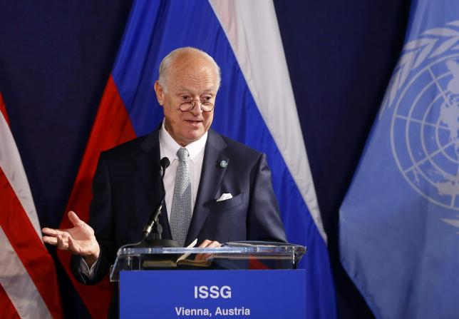 United Nations special envoy on Syria Staffan de Mistura speaks during a news conference in Vienna, Austria, May 17, 2016.     REUTERS/Leonhard Foeger