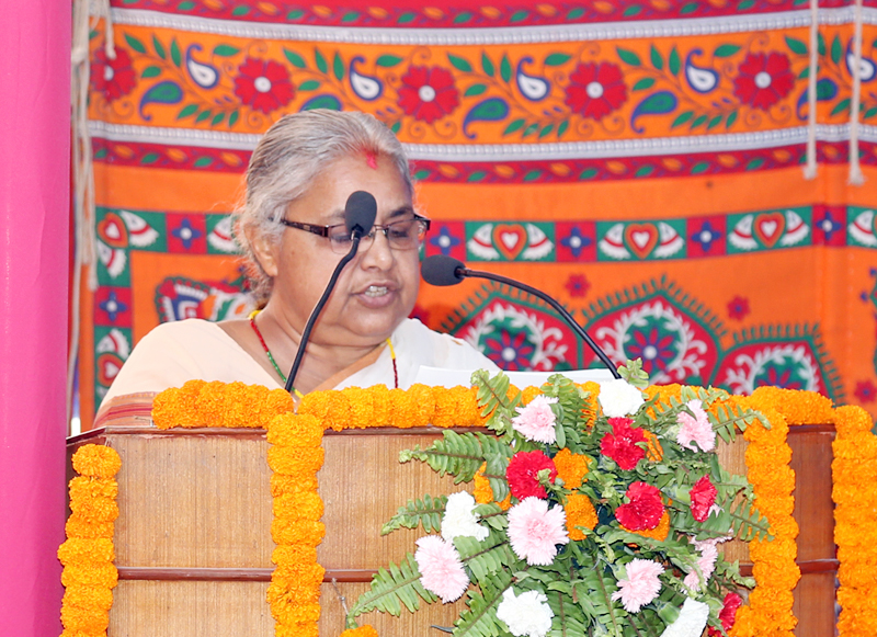 Acting Chief Justice Sushila Karki addressing a function to mark the Law Day in the premises of Supreme Court in Kathmandu on Sunday, May 8, 2016. Photo: RSS