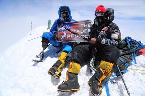 Charlie Linville is the first combat wounded veteran to reach the top of Mt Everest.nPhoto: The Heroes Project