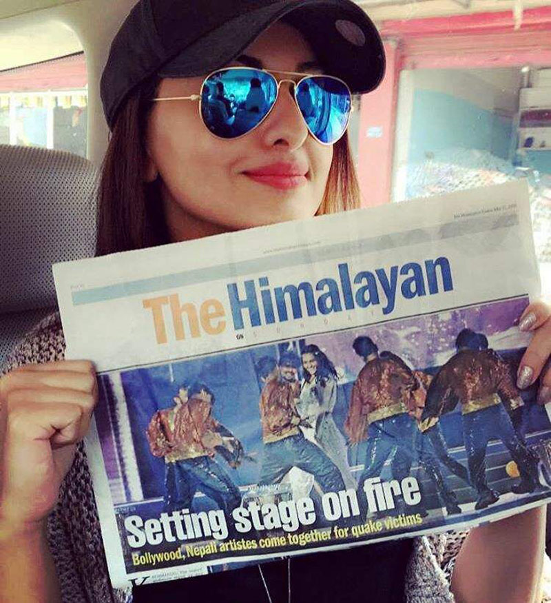 Bollywood actress Sonakshi Sinha holds May 15 edition of The Himalayan Times, that carried the news and image of her performance in the charity event u2018Amar Panchhi: Rising From the Ashesu2019. Sinha, who was one of the performers at the event held on May 14 in Tundikhel, uploaded the image on her Instagram with the caption, u2018Aaj ki taaza khabarrrr!u2019 Photo Courtesy: Instagram