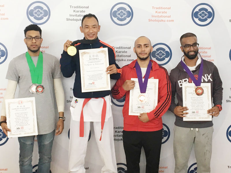 Nepali karateka Sunil Lama wins gold medal in the 22nd Traditional Karate-do Invitational Champion in New York on Sunday, May 22, 2016.