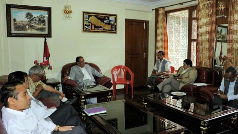 UCPN-Maoists Chairman Pushpa Kamal Dahal (centre) during a meeting of the Standing Committee at Dahalu2019s residence, in Lazimpat, on Wednesday, May 04, 2016. Photo Courtesy: Dahal's Secretariat