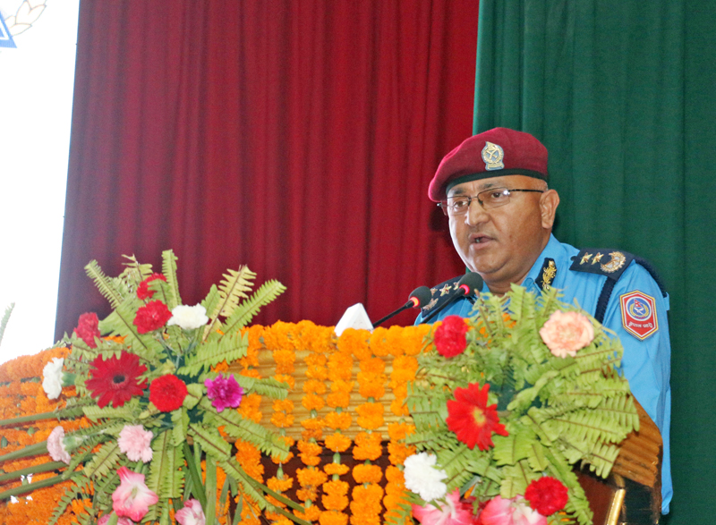 Inspector General of Nepal Police Upendra Kant Aryal speaking amid a function organised to mark the launch of a traffic management-related app, in Kathmandu, on Monday, May 2, 2016. Photo: RSS