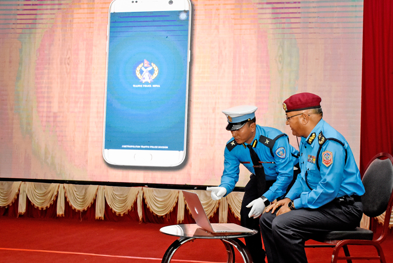 Inspector General of Police Upendra Kanta Aryal launching the Traffic Police Nepal App, in Kathmandu, on Monday, May 2, 2016. Photo: THT