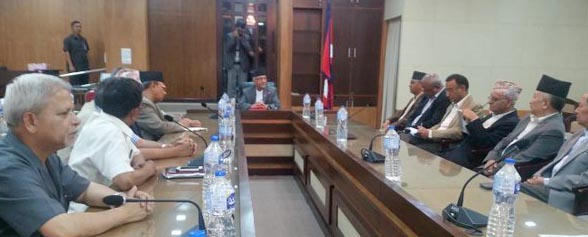 Leaders of various parties taking part in the all-party meeting called by Prime Minister KP Sharma Oli at Singha Darbar on Tuesday, May 24, 2016. Photo: Twitter/PM_Nepal