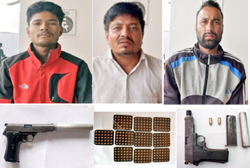 Narayan Shrestha (left), Ram Chandra Thapa (centre) and Deepak Sapkota were arrested in possession of a pistol and its bullets as well as lorazepam tablets (bottom). Photos: MPCD