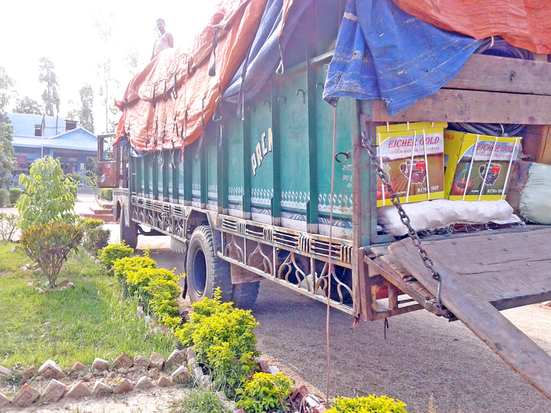 A truck laden with goods, after reportedly evading customs duty, seized by the Armed Police Force Border Security Office in Rautahat district on Sunday, May 15, 2016. Photo: Prabhat Kumar Jha